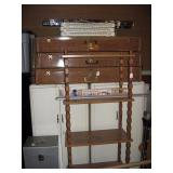 Basement Back Room  Super Sturdy Metal Storage (3), Wood Shelf Unit, White Steel Cabinets (2),