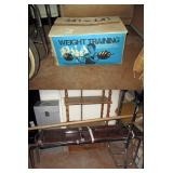 Basement Back Room  Sears 110 lbs Barbell Set w/ Bench
