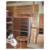 Basement Back Room  Wood 4 shelf unit, Steel Shelf Cabinet, Wood table