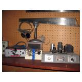 Basement Right  Ruddell Sound System,  Astatic JT-30 Mic, Speaker, Telegraph Key,