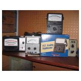 Basement Right  Heathkit RS-1, Micronta 22-220, Hewlett Packard 427A, Deluxe 244-2142 Sears Analyzer