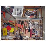 Basement Right  Tools-Crescent wrenches, Pliers, Drill bits, Pipe wrenches, Sockets