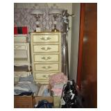 First Bedroom Right  Ivory colored Dresser, Lamps