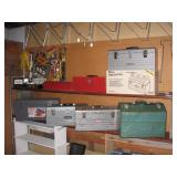 Basement Right  New Craftsman Steel Tool box w/box, 2 Craftsman used tool boxes, New Red tool box,