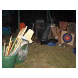 Outside Back yard  Stuff  Target, Garden tools, Wire fencing, Plastic covers