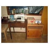 Basement:  TV stand, Singer sewing machine, Box of small bottles, White box