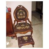 Living Room:  Needlepoint Chair & Ottoman
