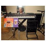 Basement:  Yahama KeyBoard psr-Gx76 Jimi Hendrix LP & CD set, Black Music Stand, 4 Guitar Stand,