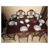 "Dining Room: 49 Pieces Tienshan FolkCraft ""Cabin in the Snow"" 12 Place Settings, 1 Gravy Boat China"