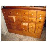 Garage:  Apothecary Cabinet 26 drawers, (2 drawers open)
