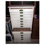 Garage:  White Cabinet (2 Drawers Open) (Great Vintage Piece)