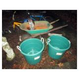 OutSide:  Wheel Barrow,  2 Buckets, Owl