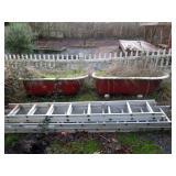 Back Yard  Bath Tubs with Legs, 2 Aluminum Ladders