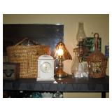 Living Room:  Basket, Clock, Lamp, oil Lamp, Wicker Bird Cage