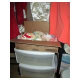 Back Bed Room: 2 Bins, Box of  cloth doilies