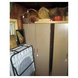 Back Bed Room Closet: Baskets, Steel Closet, Bed