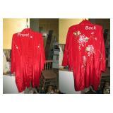Back Bed Room:  Red Silk Lounge Coat