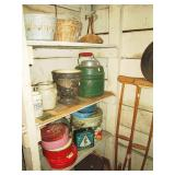 Basement Pantry:  Pottery, Thermos Jug, Tins