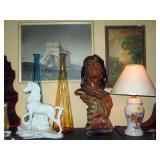 Living Room:  Indian Bust, TV Lamp Horse, Blue & Gold Color Vases, Sail Boat Picture
