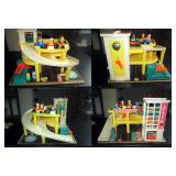 Upstairs 1st Left Bedroom Left: Vintage Fisher Price Little People Action Garage #930