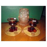 Gold design trim amber candle holders