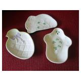 Belleek figural candy dishes – rabbit, ghost and chick