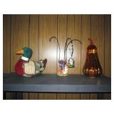 Duck Holds Kitchen tools, Christopher Radko Halloween, Light up orange pumpkin