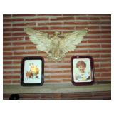 Chalkware Eagle, Norman Rockwell Trays Christmas, Girl