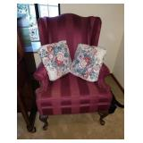 Living Room:  Maroon Chair, 2 Pillows