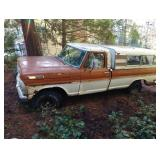 Outside:  1969 F100 Ford PU,  V-8, 4 wheel drive,                        Vin # F11YRE34404    Not ru