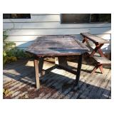 Back Porch:  Wood Table w/2 Benches