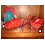 Kitchen Area:  Tonka Pickup Truck, Lionel Light, Hubley #490 Tractor, Tru-Scale Farm Toys, Beanie
