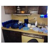 Kitchen: Blue Glasses & Plates