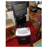 Down 1st Bedroom Right: Dell Monitor, Rolling File Cabinet, Fellowes Shredder