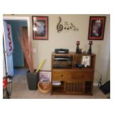 "TV Room: Large Vase w/Reeds, Bose Stereo, KLH Dvd Player (DVD-8350),  Kendell 44""  2 Drawer + Open C"
