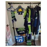 "1st Bedroom Right:  Seahawks, shirts, Jackets,  Mariners Sweatshirt w/Hood , ""Blitz"" Puppet"
