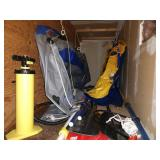 Garage (Top of Stairs) Rubber Rafts, Oars,  Air Pumps
