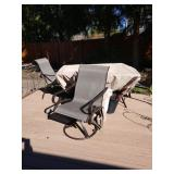 Back Yard:  Great Tile Patio Table w/6 Chairs, 2 are Swivel  Chairs