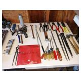 Garage: Screw Drivers, Wire Strippers, Ball Peen Hammers (Small),  Some Wright Tools