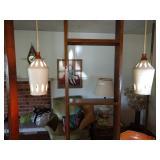 Living Room:  MCM Room Divider Hanging Ceramic Lamps