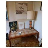 Basement Room Left:  MCM Tile Coffee Table, Table Lamp, Oil Paintings, Small vintage Phone