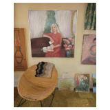 Basement Room Left:  Oil Paintings, Rattan Rocker