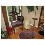 Living Room:  Magazine Holder, Vintage Chair, #10 Crock, Vintage Table/Lamp, Vintage Small Rug, Larg