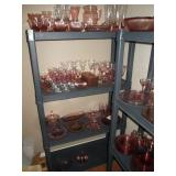 Living Room:  Large collection of Pink Depression glass - many patterns and pieces