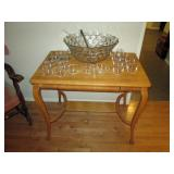 Kitchen Area: Vintage Oak Table, Punch Bowl, Glass Cups