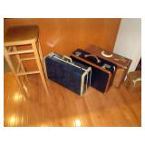 Kitchen Area:  Tall Stool, 3 Vantage Suitcases