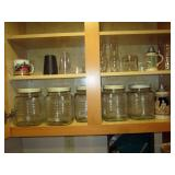 Kitchen Area:  Vintage Large Jars, Flatware, Other Stuff