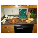 Kitchen Area:  Copper Plate, Flatware, Dishes