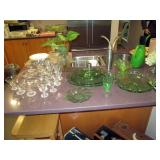Kitchen Area:  Green Depression Glass, other elegant glass and crystal