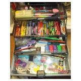 Garage:  In Grey Box-Crayons, Clay, Pencils, Pens, Brushes, Stamp pads, Glue Sticks, Other Stuff